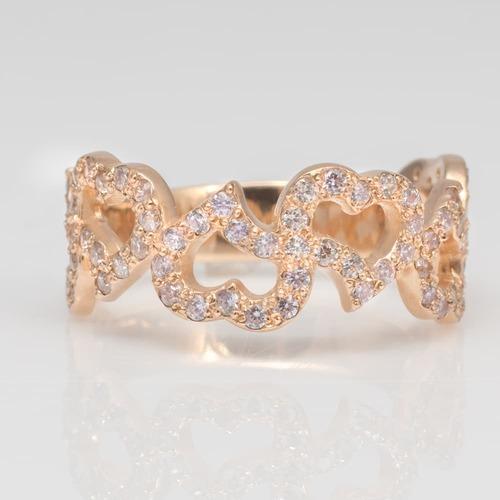 Золотое помолвочное кольцо сила сердца с фианитами К21089