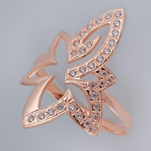 Золотое кольцо с фианитами цветок. К1220