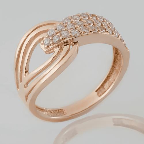 Золотое кольцо с фианитами. К1636