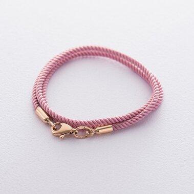 Шовковий рожевий шнурок з гладкою золотою застібкою (2 мм) кол00932
