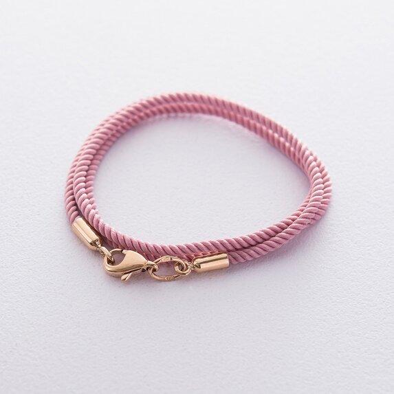 Шелковый розовый шнурок с гладкой золотой застежкой (2мм) кол00932