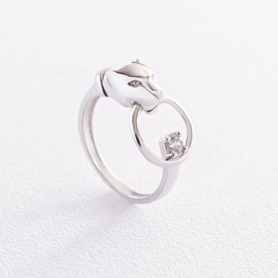 """Кольцо """"Пантера"""" в белом золоте (фианиты) к06845"""