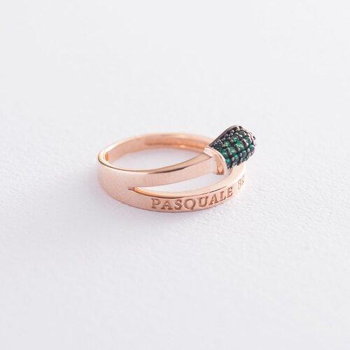 """Золотое кольцо """"Спичка"""" (зеленые фианиты) к06264"""