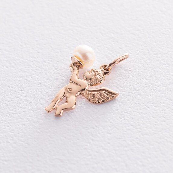 """Золотая подвеска """"Ангелочек"""" с жемчужиной п03529"""