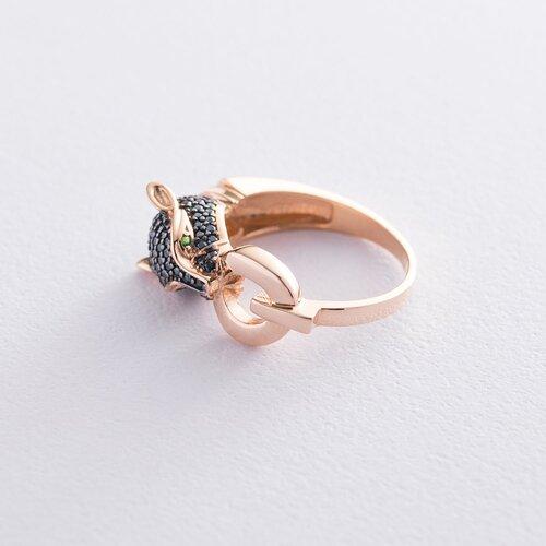 """Золотое кольцо """"Пантера"""" (черные фианиты) к06700"""