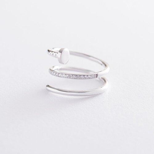 """Золотое кольцо """"Гвоздь"""" (фианит) к04376"""