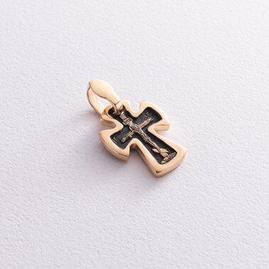 """Золотой крестик """"Распятие. Спаси и Сохрани"""" п03584"""