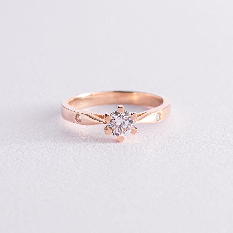 Помолвочное кольцо в красном золоте (фианиты) к06427
