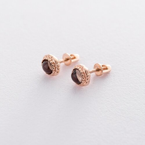 Золотые серьги-пусеты (дымчатый кварц). с05257
