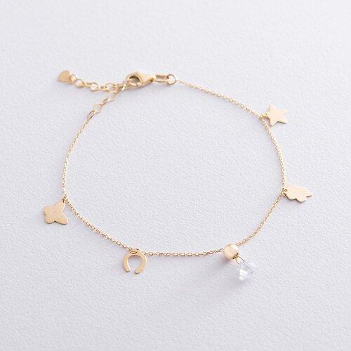 Золотой браслет с фианитом б04455