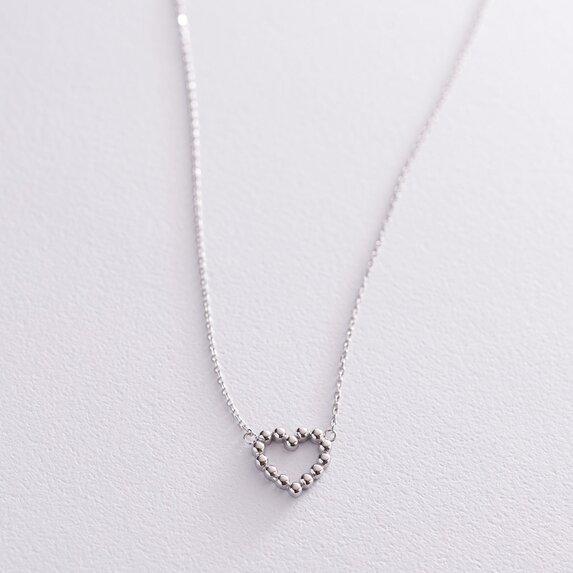 """Колье """"Влюбленное сердце"""" в белом золоте кол01991"""
