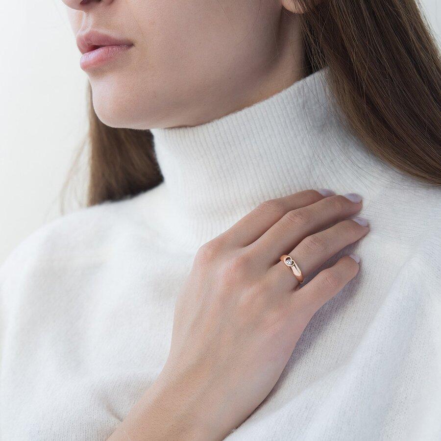 Золотое кольцо Сердце с фианитом к06414