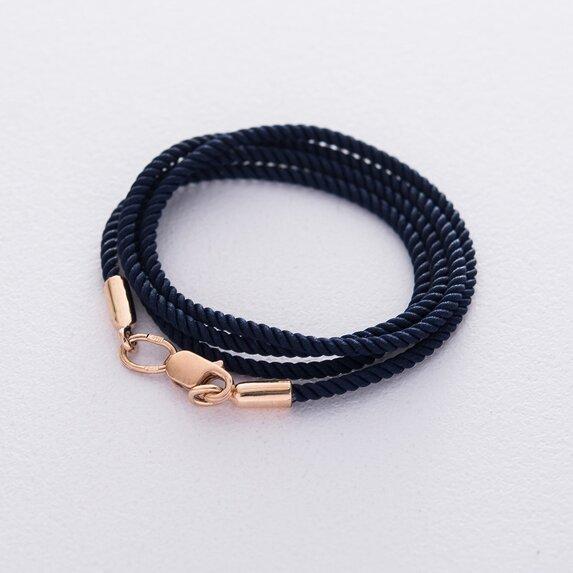 Шелковый синий шнурок с гладкой золотой застежкой (2мм) кол00950