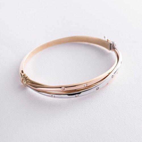 Жесткий браслет из трех цветов золота (фианиты) б04495