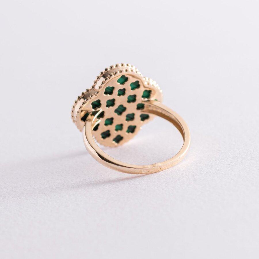 """Золотое кольцо """"Клевер"""" с малахитом к06880"""