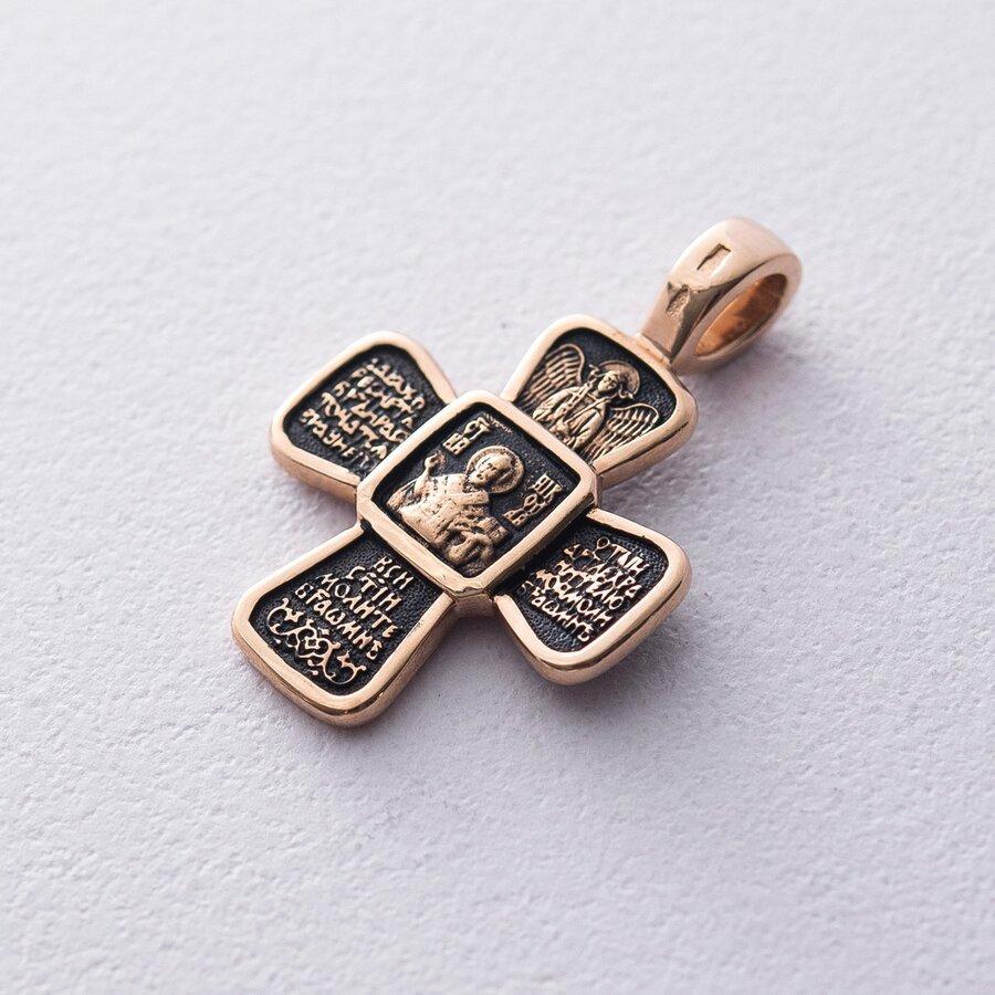 """Золотой крест """"Распятие. Свт. Николай Чудотворец. Молитва"""" п02428"""