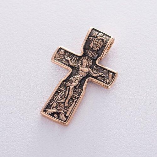 """Православный золотой крест """"Распятие Христово. Святой Николай"""" п03315"""