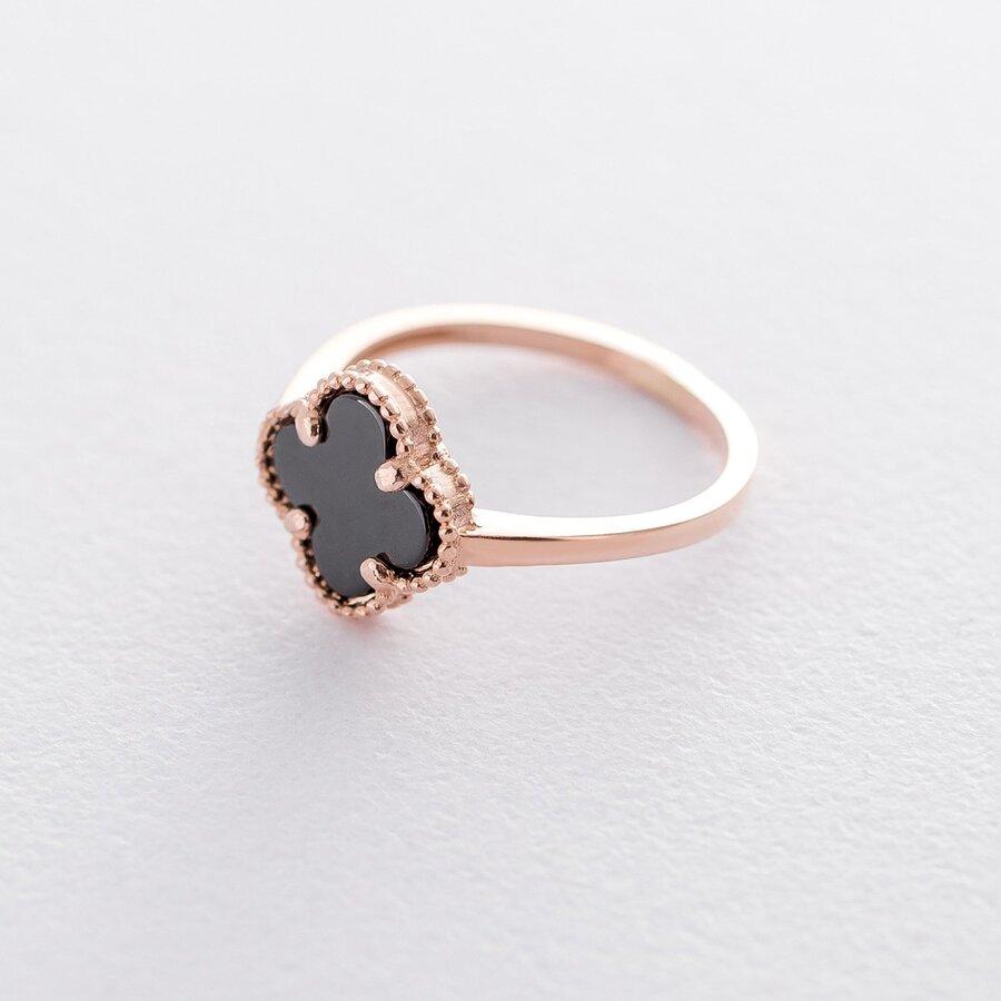 """Золотое кольцо """"Клевер"""" (оникс) к05998"""