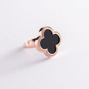"""Золотое кольцо """"Клевер"""" с ониксом к06882"""