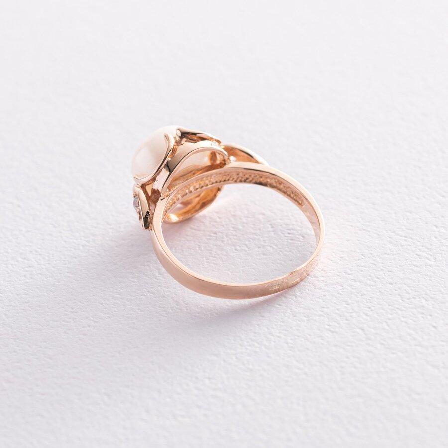 Золотое кольцо (жемчуг, фианиты) к05968