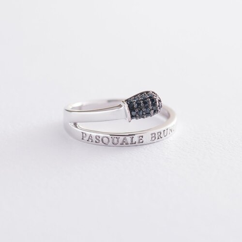 """Золотое кольцо """"Спичка"""" (черные фианиты) к06289"""