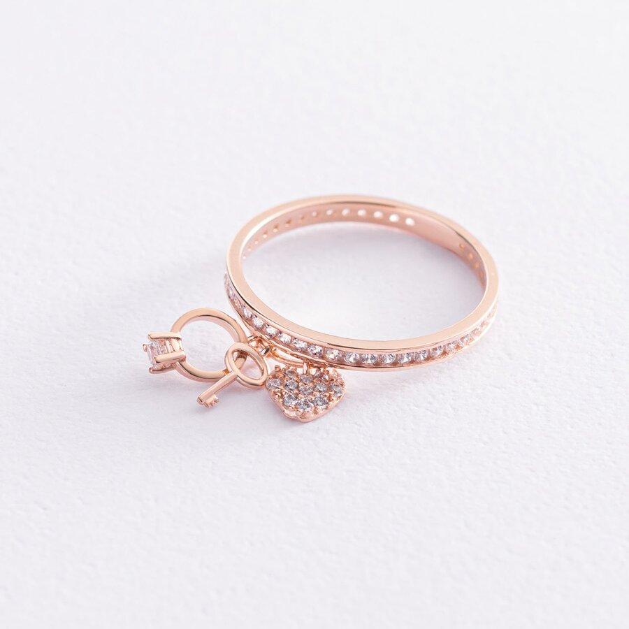 Золотое кольцо с сердечком и ключиком (фианит) к06868