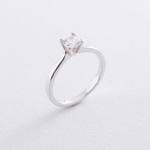 Кольцо из белого золота с камнем Сваровски К06316