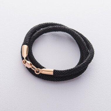 Шовковий шнурок з гладкою золотою застібкою (3 мм)  кол00943