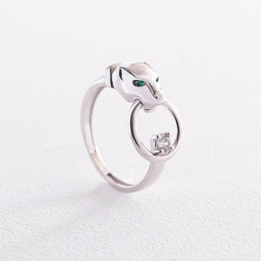 """Кольцо """"Пантера"""" в белом золоте (фианиты) к06846"""