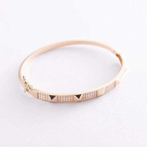 Жесткий золотой браслет (фианиты) б04497