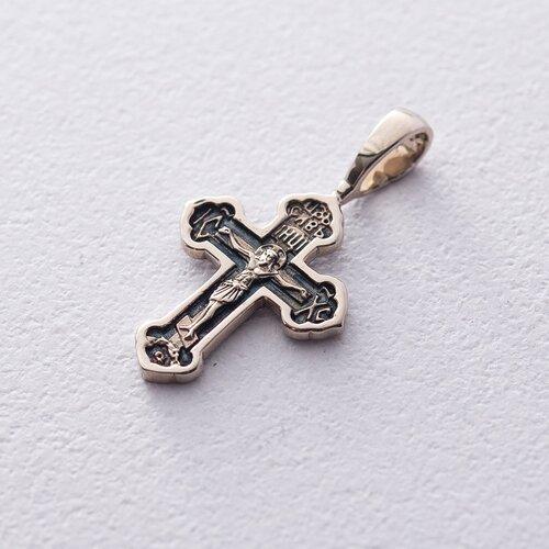 Золотой крестик с распятием (чернение) п03205