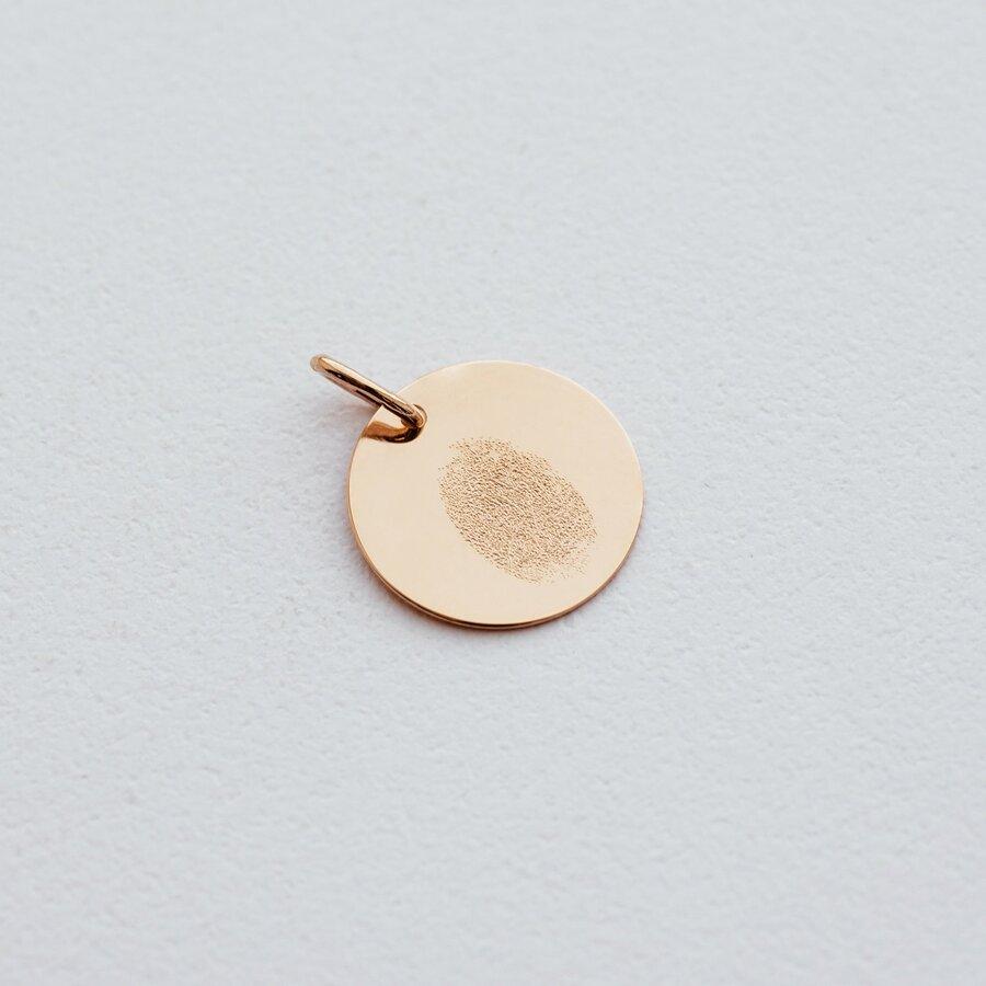 """Кулон для гравировки в красном золоте """"Отпечаток любви"""" (17 мм) п03611о"""