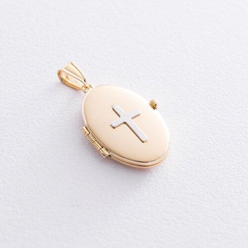Золотой кулон для фотографии с крестиком. п03438