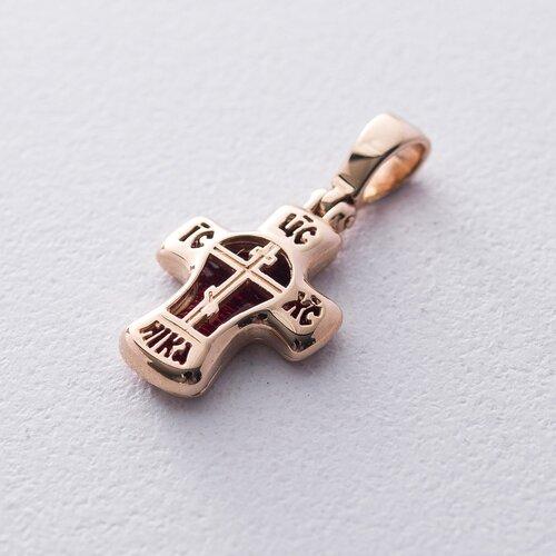 Золотой православный крестик с эмалью. п03076