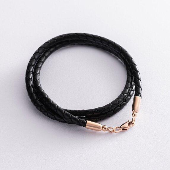Кожаный шнурок с золотой застежкой кол00944
