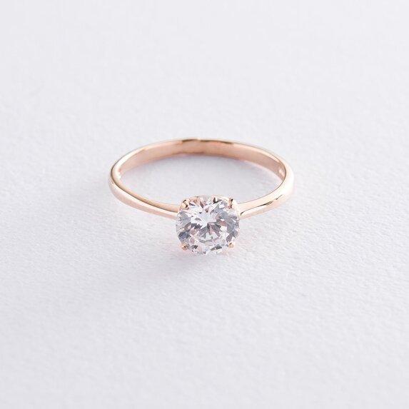 Золотое помолвочное кольцо с фианитами к06606