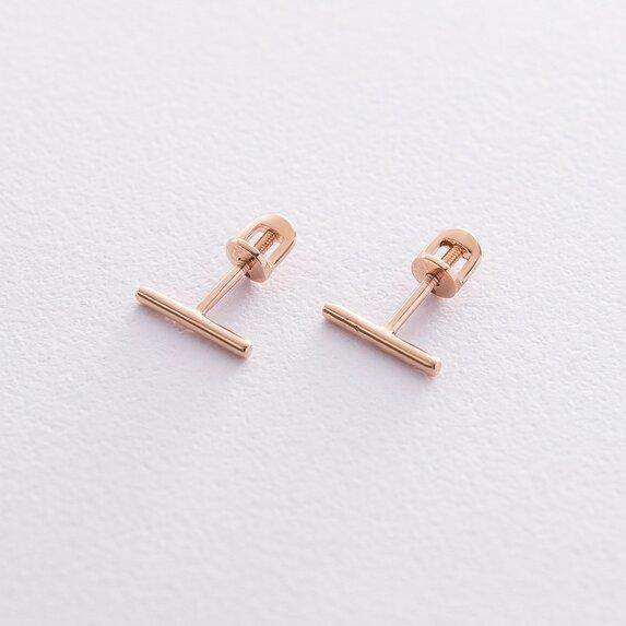 Золотые серьги-пусеты в стиле минимализм с06689