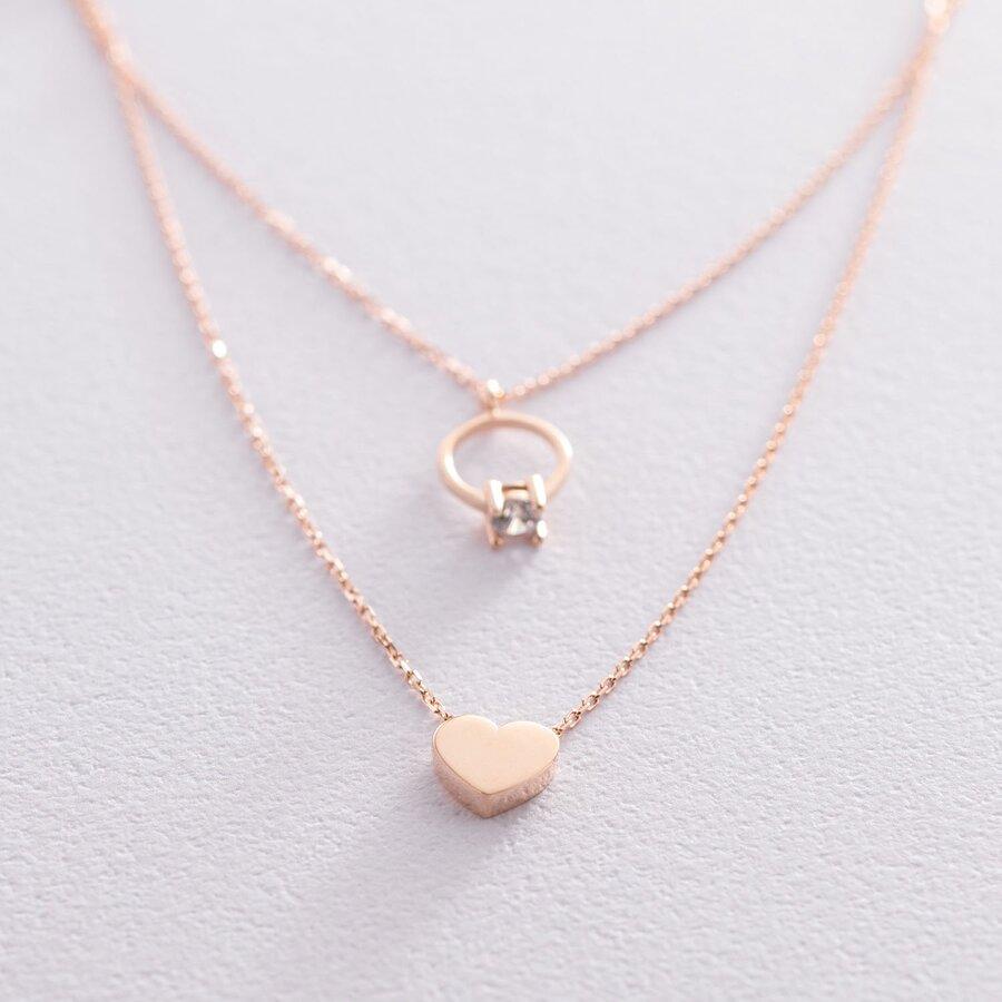 Золотое колье с помолвочным кольцом и сердцем (фианит) кол01863