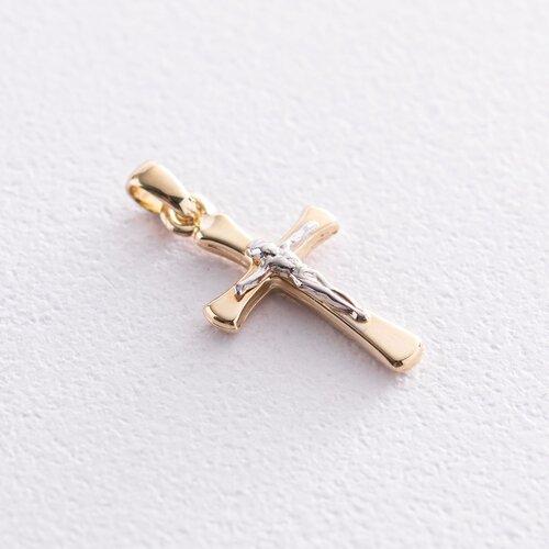 Православный крест с распятием (желтое золото) п03507