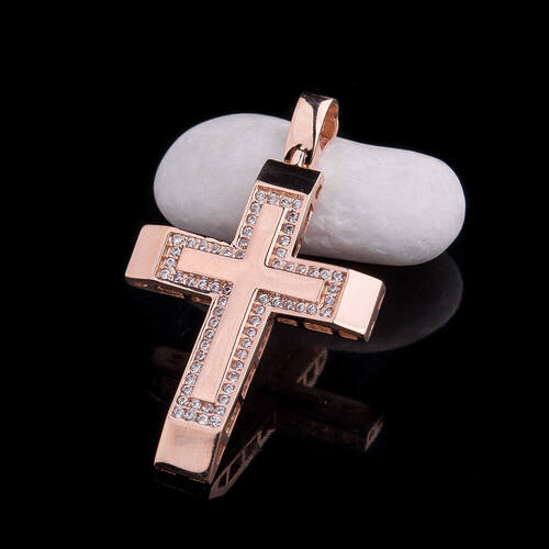 Золотой крестик с фианитами п02189
