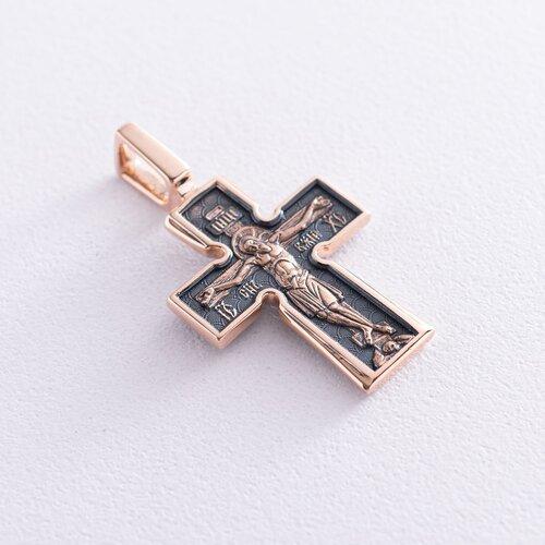 """Православный крест """"Распятие. Божия Матерь «Воплощение». Пять святителей"""" (чернение) п01749"""