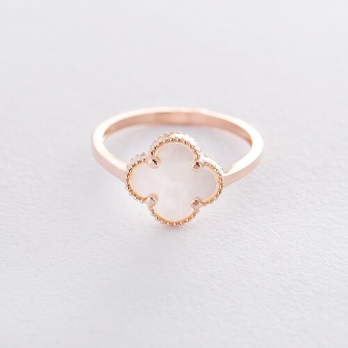 """Золотое кольцо """"Клевер"""" (перламутр) к06327"""