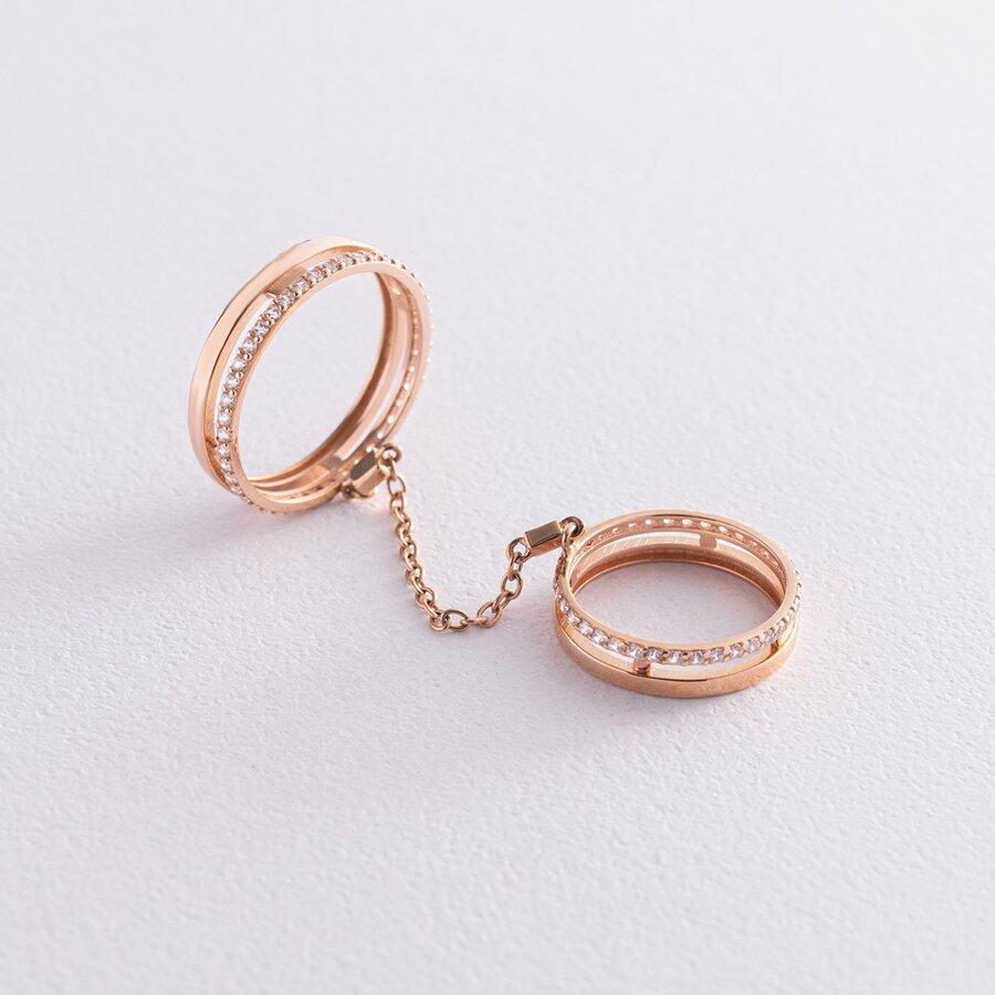 Золотое кольцо на фалангу с фианитами к05513