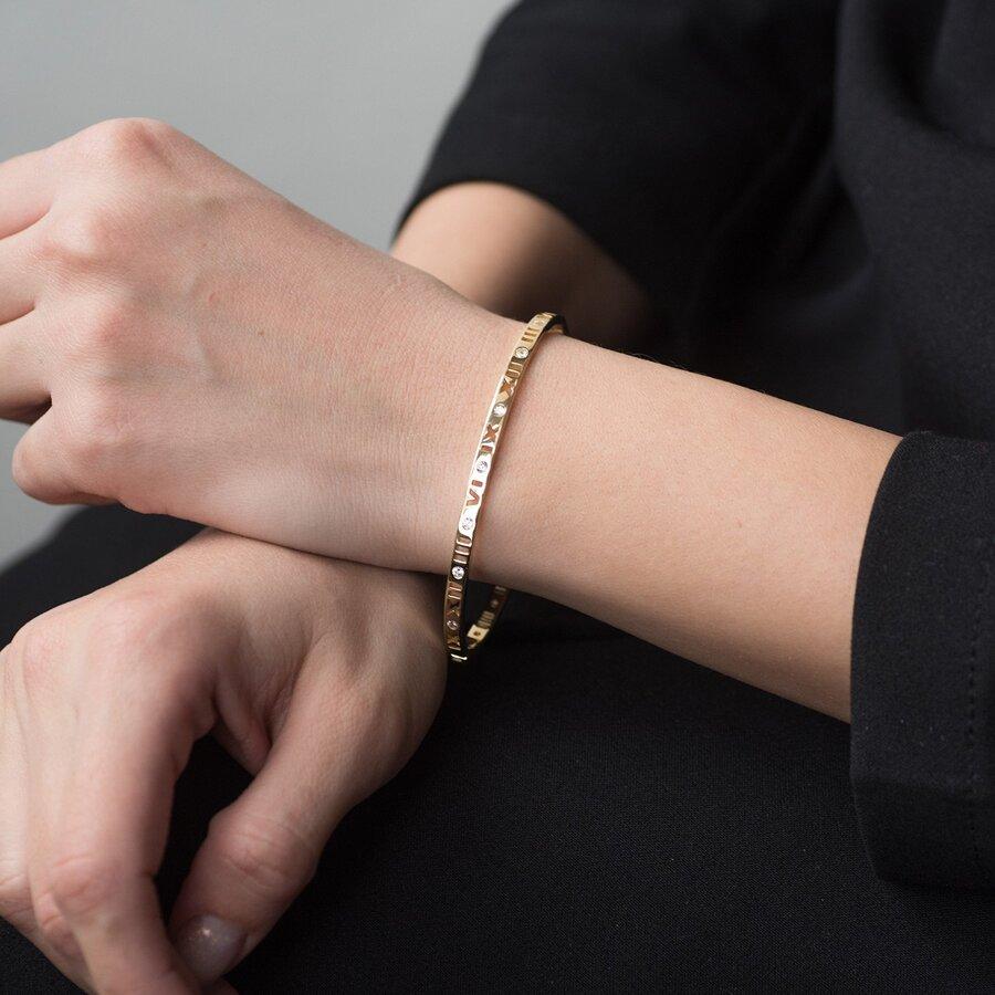 """Жесткий золотой браслет """"Римские цифры"""" с фианитами б03895"""