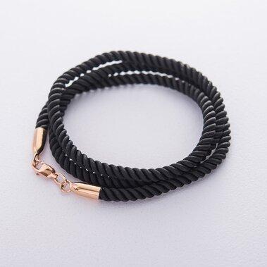 Шовковий шнурок з гладкою золотою застібкою (3 мм)  кол00942