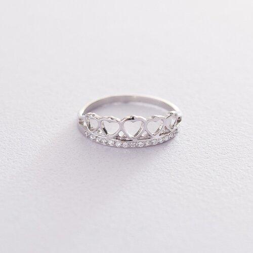 """Золотое кольцо """"Корона из сердец"""" (фианит) к06272"""