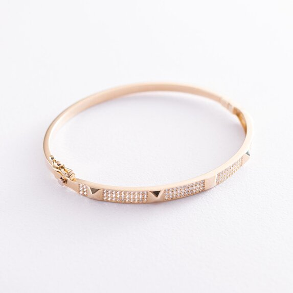 Жесткий золотой браслет (фианиты) б04496