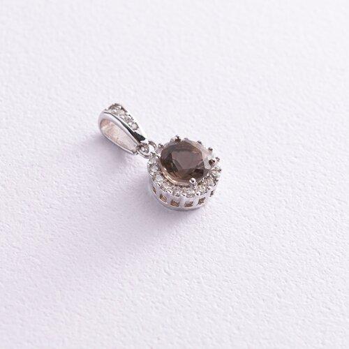 Золотой кулон (дымчатый топаз, фианиты) п01336б