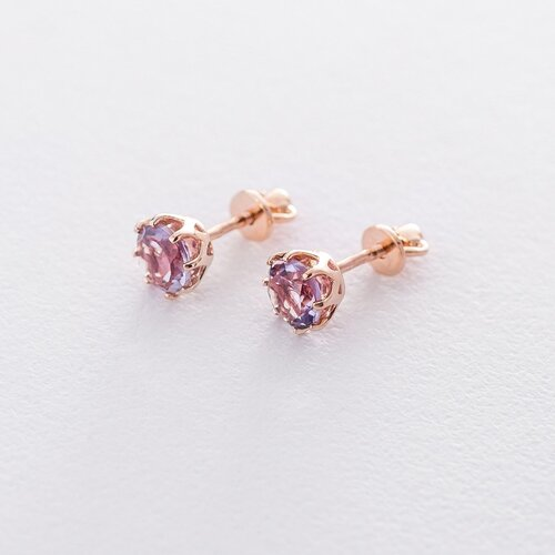 Золотые сережки-пусеты с аметистом. с06306