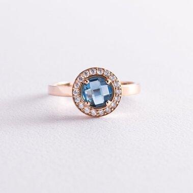 Золотое кольцо с голубым и белыми фианитами к06840